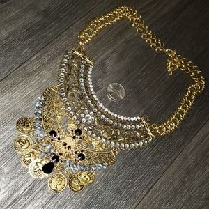Jewelry - Gothic Gold Chains Necklace Cross Skull Coins
